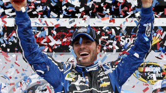 DAYTONA BEACH, FL - FEBRUARY 24: Jimmie Johnson, driver of the #48 Lowe's Chevrolet, celebrates in victory lane after winning the NASCAR Sprint Cup Series Daytona 500 at Daytona International Speedway on February 24, 2013 in Daytona Beach, Florida. (Photo by Chris Graythen/Getty Images)